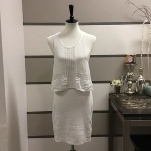 American Eagle Outfitters-White Layered Dress